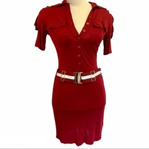 Guess Marciano red belted button front dress Sz XS